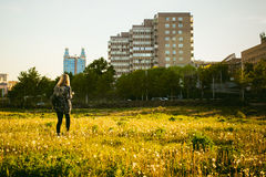 Young blonde girl in dress with shoulder bag, walking on dandelion field stock image