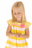 Young blonde girl hands folded eyes closed praying innocent Royalty Free Stock Photos