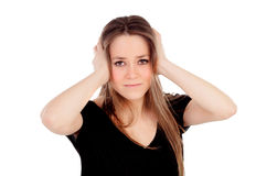 Young blonde girl with headache Royalty Free Stock Image