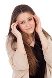 Young blonde girl with headache Stock Photography