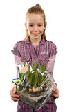 Young blonde girl with Muscari botryoides. Young blonde girl gives Muscari botryoides flowers isolated on white background stock photos