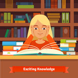 Young blonde girl reading book in a library. Young blonde girl reading a book in a library amazed and smiling holding hands on cheeks.  Flat vector illustration Stock Photos