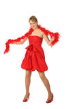 Young blonde girl in red dress and boa Royalty Free Stock Images