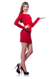 Young blonde girl in red short  dress holding Royalty Free Stock Photo
