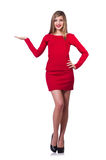Young blonde girl in red short  dress holding Stock Image