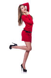 Young blonde girl in red short dress isolated on Royalty Free Stock Photos
