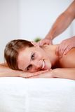 Young blonde girl relaxing at a spa Royalty Free Stock Photo