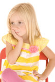 Young blonde girl sitting in chair thinking Royalty Free Stock Photos