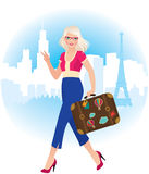Young blonde girl traveling in France Royalty Free Stock Photos