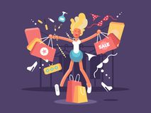Young blonde goes shopping Royalty Free Stock Images