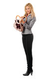 Young blonde with a handbag. Isolated Stock Photo