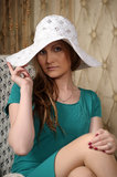Young blonde in a hat Royalty Free Stock Photo