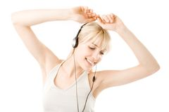 Young blonde and headphones Stock Photos