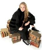 Young Blonde Judge Sitting on 70 Year Old Law Books stock photography