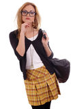 Young blonde model with glases and bag posing Royalty Free Stock Photo