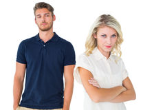 Young blonde not listening to boyfriend Stock Image