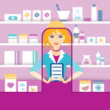 Young blonde pharmacy chemist girl standing in drugstore. Royalty Free Stock Photo