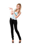 Young blonde posing and smiling. Pretty young blonde posing and smiling. Isolated on white Stock Photos