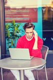 Young Man Working Hard in New York. Royalty Free Stock Images