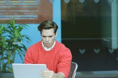 Young Man Working Hard in New York. Royalty Free Stock Photography