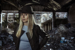 Young blonde in ruins Royalty Free Stock Photos