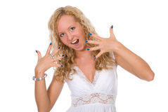 Young blonde shows the made-up nails Stock Photography