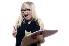 Young blonde student excited about studying Stock Photography