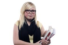 Young Blonde student holding books Stock Photos