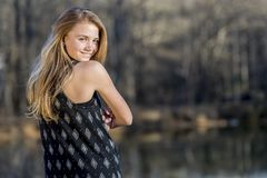 Young Blonde Teenager Enjoys A Beautiful Day Stock Image