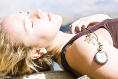 Young blonde under the sun stock images