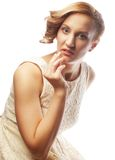 Young blonde in white dress posing Stock Photos