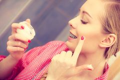 Woman applying moisturizing skin cream. Skincare. Stock Photography