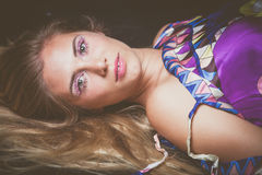 Young blonde woman beauty portrait with unusual makeup with crys Stock Photography