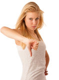 Young blonde woman with blue eyes gesturing failure and ange wit Stock Photos