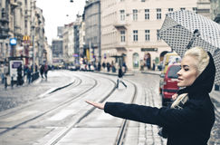 Young blonde woman catching the taxi on the city street, elegant girl with umbrella Royalty Free Stock Photos