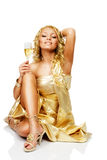 Young blonde woman with champagne glass Stock Photography
