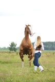 Young blonde woman commanding horse to rear. (stand up Royalty Free Stock Photography