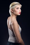 Young blonde woman with creative haircut Royalty Free Stock Photos