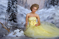 Young blonde woman in an elegant yellow dress Stock Images