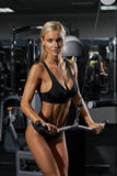Young blonde woman in gym Stock Images