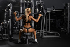 Young blonde woman in gym Stock Photo
