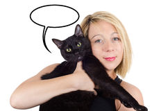Young blonde woman holding a cat with thought cloud on white isolated background. Royalty Free Stock Photos