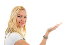 Young blonde woman is holding hand Royalty Free Stock Photos