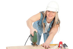 Young Blonde Woman Is Working Royalty Free Stock Image