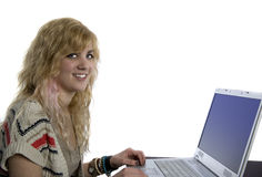 Young Blonde Woman at Laptop Computer Royalty Free Stock Photo