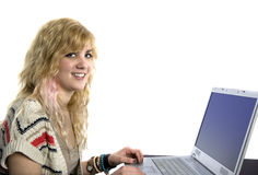 Young Blonde Woman at Laptop Computer Stock Photography