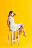 Young blonde woman in nice spring dress Stock Images