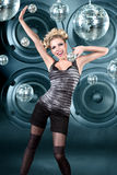 Young blonde woman at night disco club. Young blonde woman dancing at night disco club Royalty Free Stock Photos