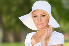A Young Blonde Woman Outside stock image