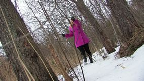 Young blonde woman in pink coat walking in winter forest stock footage